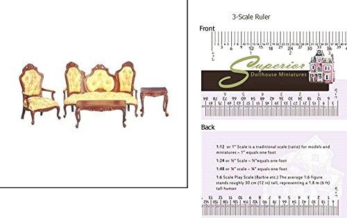 (Dollhouse Rococo Living Room Set, 4, Walnut)