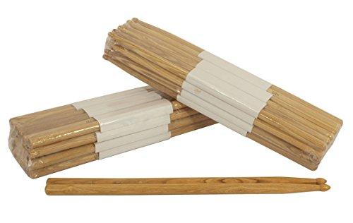 12 Pairs - 5A Wood Tip Natural Oak Drumsticks Pro 24 Drum Sticks ()