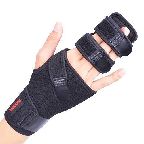 Trigger Finger Splint Wrist Finger Brace Aluminium Splint Adjustable Straightening Immobilizer for Broken Joints, Sprains, Contractures, Arthritis, Tendonitis and Pain Relief (Right, S/M)