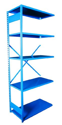 Equipto 663-5A V-Grip 18-Gauge Heavy Duty Steel Open Shelf Add On Unit with 5 Shelves, 700 lbs Shelf Capacity, 36