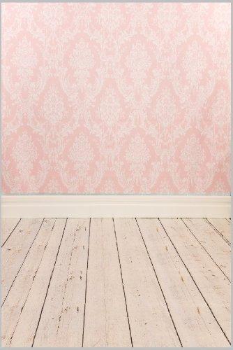 5x7ft Pink Damask Wallpaper Vinyl Backdrop,Wood Floor Prop Backdrop XT 2341