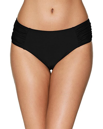 Sociala Shirred Bikini Bottoms for Women Black Swim Bottom Swimsuit Briefs M