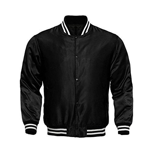 - Genz Men Women Bomber Jacket Satin Polyester Vintage Army Biker Retro Zip up Casual Coat (Black, Large)