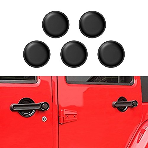 American 4wheel 5pcs Front Rear Door Matte Black Grab Handle Inserts Dish Plate Cover Off Road 4 Doors Jeep Wrangler & Unlimited 2007-2018 Rubicon Sahara sports JK (Handles Cover Plate)