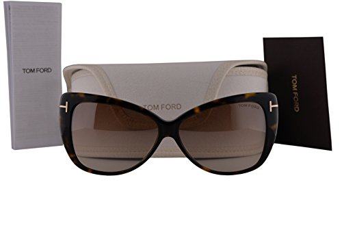 Tom Ford FT0512 Reveka Sunglasses Dark Havana w/Brown Mirror Lens 52G - Tom Sunglasses Alicia Ford
