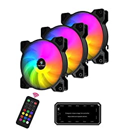 Easythreed 120mm PC Cooling Fan RGB Computer Case Fans PMW Quiet High Airflow with 6 Pins, Wireless Controller…