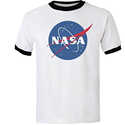 NASA White & Black Ringer Tee: Unisex Gildan Ringer T-Shirt -