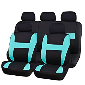 NEW ARRIVAL- CAR PASS Sporty Universal fit car seat covers,Airbag Compatible,Perfect fit for SUVS, Sedans,Cars,Trucks, Mintblue