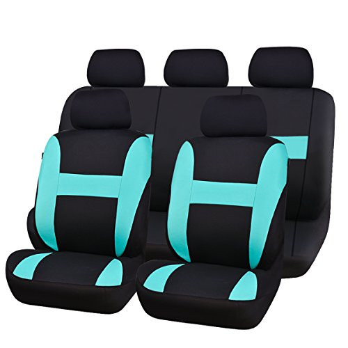CAR PASS NEW ARRIVAL Sporty Universal fit car seat covers,Airbag Compatible,Perfect fit for SUVS, Sedans,Cars,Trucks, Mintblue
