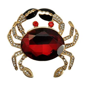 TTjewelry Fashion Jewelry Lovely Red Crab Animal Gold Tone Brooch Pin  Rhinestone Crystal