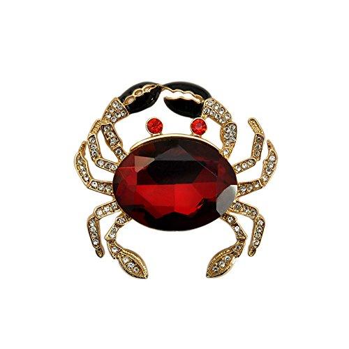 Red Gold Rhinestone Brooch (TTjewelry Fashion Jewelry Lovely Red Crab Animal Gold Tone Brooch Pin Rhinestone Crystal)