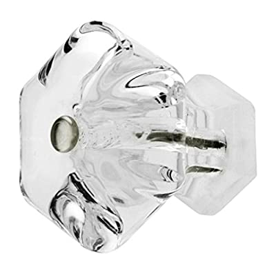 "Kitchen Cabinet Knobs Crystal, French Drawer Pulls or Nickel Pull Handle T93F Large 1.85"" / 47mm Diameter Clear Crystal Glass Hexagon Knobs with Polished Nickel Hardware. Romantic Decor & More"