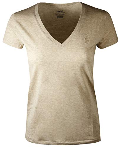 Polo Ralph Lauren Women's Pony Logo V-Neck Tee (Medium, Dune Tan (Dune Tan Pony))