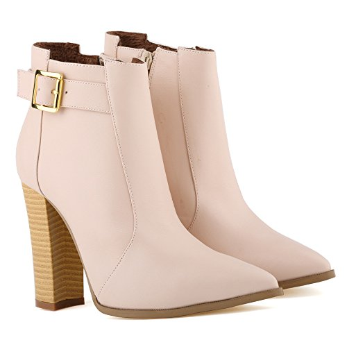 Boots Zipper Womens Fashion Simple Block Knight Apricot Heel Fereshte Pu x0FTqwfc