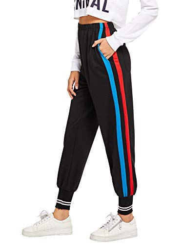 Romwe Women's Casual Athletic Contrast Stripe Sweatpants Yoga Elastic Mid Waist Jogger Track Pants Black_b&r XL