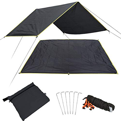 LLY Lightweight Hammock Camping Tarp, Waterproof Picnic Mat, 4 in1 Multifunctional Tent Footprint for Camping, Hiking Survival Gear, Lightweight and Compact(Black)
