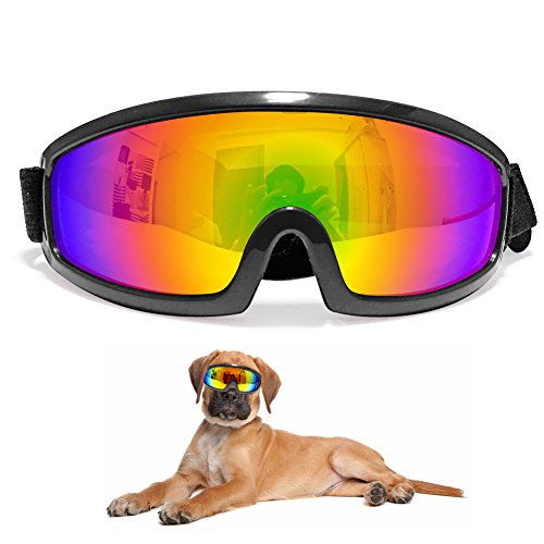 Pet Large Sunglasses Dog Goggles UV Protection Eye Wear Waterproof Pet Goggle with Adjustable Strap for for medium Large Dogs Travel,Skiing,Surfing,Driving(Black) by IREENUO