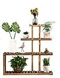 Echotang Wooden Plant Stand Flower Display Shelf Rack for Home Indoor Balcony, Multilayer, Brown
