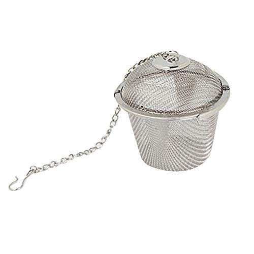 Herb Saucer Cup (Gotian Stainless Steel Tea Filter Ball Tea Spice Strainer Infuser Mesh Filter Leaf with Lid Chain (Size S: 4.5cm))