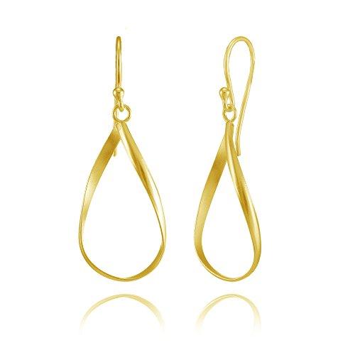 Yellow Gold Flashed Sterling Silver Teardrop Swirl Lightweight Dangle Drop (Elongated Teardrop Ring)