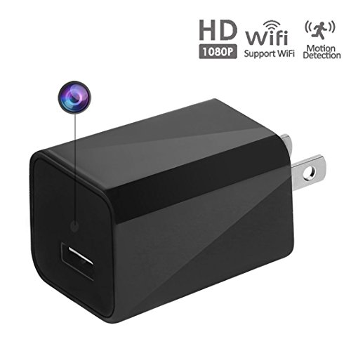 WEMLB 1080P HD Wall Plug USB Charger Hidden Camera Motion Detection Wireless Nanny Camera Ac Adapter WIFI Spy Hidden Camera, Loop Recording and Remote App Control