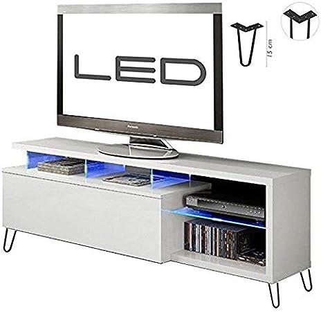 HABITMOBEL Mesa de TV Moderna, Mueble Salon, Color Blanco Brillo y Luces LED, Medidas: 150x41x43 cm de Altura: Amazon.es: Hogar