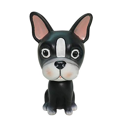 L.DONG Bobble Head Dog Car Dashboard Decors Puppy Shaking Head for Car Vehicle Decoration Toys Cute Dog Home Office Desktop Resin - Boston Dog Figurine Terrier