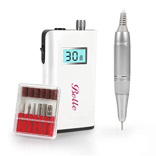 Belle 30000RPM Rechargeable Nail Drill with LCD Display Screen Portable Electric Nail File Manicure Pedicure Machine for Acrylic Gel Nails, White