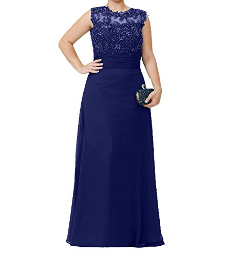 Promkleider Perlen Pailletten Chiffon Brautmutterkleider Charmant Partykleider Damen Blau Abendkleider Royal mit Langes xwYxqSU4F