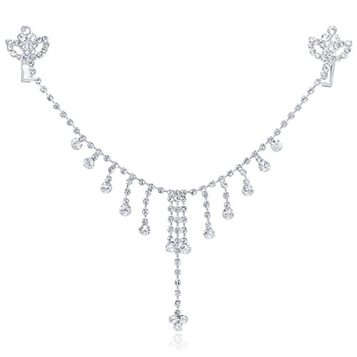 - LY8 Wedding Crystal Princess Headband Bridal Headpieces with Pendant Forehead Chain for Women Silver