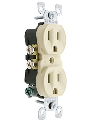 Leviton 5320 15 Amp, 125 Volt, Duplex Receptacle, Residential Grade, Grounding, All Screws Backed Out
