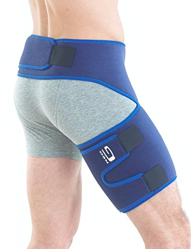 Neo G Groin Brace - Support For Joint Pain, Pulled Groin, Sciatic Nerve Pain, Hip, Thigh, Hamstring Injury, Recovery and Rehab - Adjustable Compression Wrap - Class 1 Medical Device - One Size - Blue ()