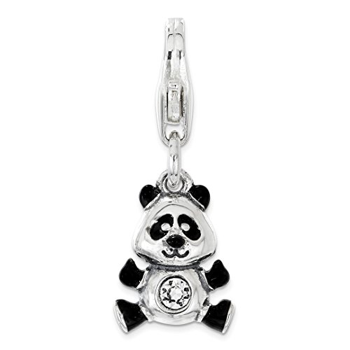 (925 Sterling Silver Rh Enameled Swarovski Panda Lobster Clasp Pendant Charm Necklace Animal Bear Fine Jewelry Gifts For Women For)