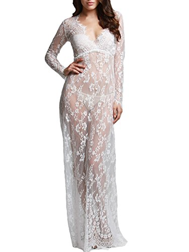 Hotgirldress Maternity Sexy Deep V-Neck Long Sleeve Lace See-through Maxi Dress For Beach (Small, White) - Sexy Pregnant Costumes