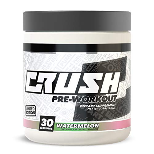 (CRUSH Pre-Workout - Clean & Consistent Energy, Deep Focus, Great Pumps. No Fillers, No Dyes, No Tingles, No Proprietary Blends (Watermelon))