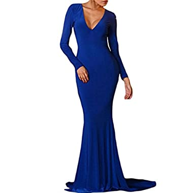 Sidefeel Women's Backless Long Sleeves Mermaid Evening Gown Medium Size Blue