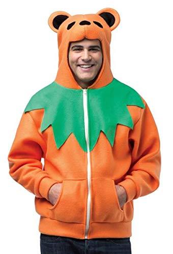 Hoodie Grateful Dead Orange Bear Adult Costumes - Grateful Dead Dancing Bear Hoodie Costume
