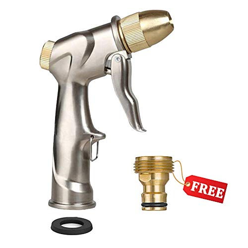 [ 2019 New Design ] FANHAO Garden Hose Nozzle Sprayer, 100% Heavy Duty Metal Handheld Water Nozzle High Pressure in 4 Spraying Modes for Hand Watering Plants & Lawn, Car Washing, Patio and Pet