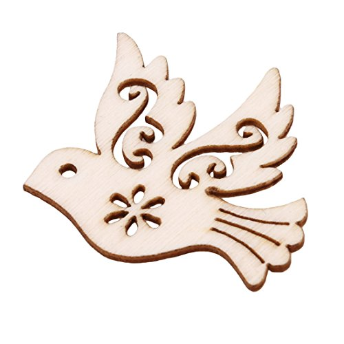 UNKE 10 Pcs Pigeon Love Birds Wooden Embellishments DIY Crafts Hanging Ornament Home Wedding Decoration by UNKE (Image #4)