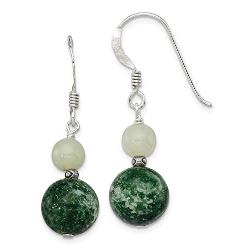 Sterling Silver Green Moss Agate and Quartz Earrings 34x10 mm
