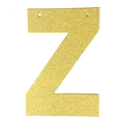 (EHDDFH Single Glitter Gold Paper Letter for DIY Hanging Banners Garlands Bunting Birthday Party Wedding Christmas Backdrop Decorations Z)