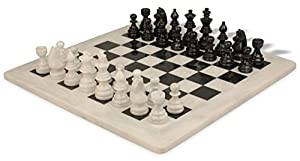 "Black & White Marble Staunton Chess Set with 16"" Board"