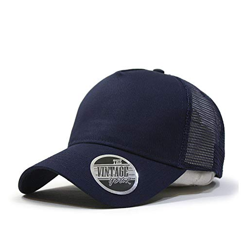 Vintage Year Plain Cotton Twill Mesh Adjustable Snapback Trucker Baseball Cap (Navy)