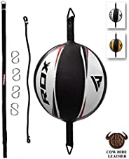 RDX Cow Hide Leather Boxing Speed Bag MMA Double End Dodge Ball Punching Training Floor to Ceiling Rope Workou