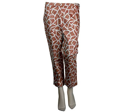 Bob Mackie Giraffe Print Pique Side Zip Cropped Pants Natural XL New A222230