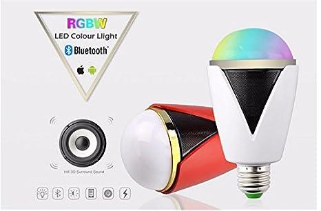 Smart altavoz inalámbrico Bluetooth Smart LED bombilla lámpara música bombilla luz lámpara bombilla a través de APP teléfono inteligente de control para iOS ...