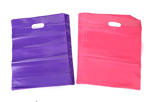 Kivvo 200 Merchandise Plastic Bags 12x15, Pink and Purple Cute Retail Shopping Bags with Die Cut Handle (Wholesale Bubble Guns)