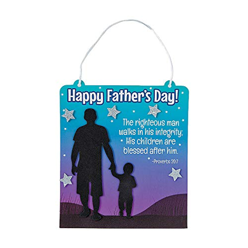 Fun Express - Religious Father's Day Sign ck for Father's Day - Craft Kits - Hanging Decor Craft Kits - Sign Decoration Craft Kits - Father's Day - 12 Pieces