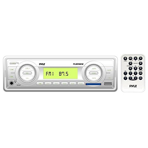 (Pyle Marine Stereo Headunit Receiver - 12v Single DIN Style Digital Boat In dash Radio System with MP3, USB, SD, AUX, RCA, AM FM Radio - Includes Remote Control, Power Wiring Harness - PLMR88W (White))