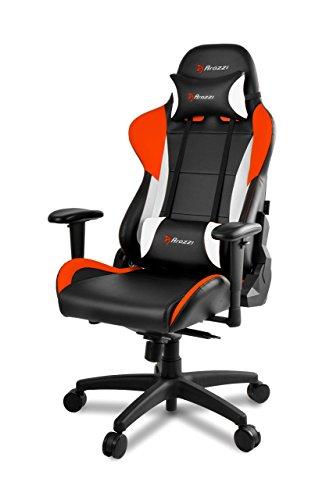 Verona Pro V2 Premium Racing Style Gaming Chair with High Backrest, Recliner, Swivel, Tilt, Rocker & Seat Height Adjustment, Lumbar & Headrest Pillows Included, Orange - PC/Mac/Linux (Leopard Tiger Apple)